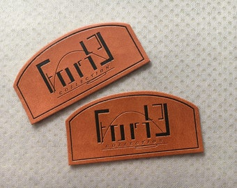 300 Custom PU Leather Patches, Faux Leather Labels, Hem leather label, leather tags for garments/hats/crafts/knits, faux leather tags
