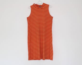 Marimekko Dress Vintage MARIMEKKO 90s Midi dress Orange dress Knit dress Striped Dress Top Tunic Nautical Top Orange Sleeveless Medium Size