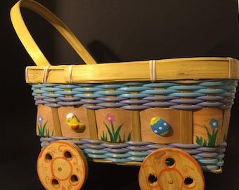 Vintage Easter Basket / Easter Cart / Egg Basket / Easter Decor.