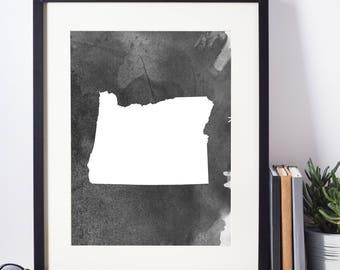 Home Decor, Wall Art, Watercolor, Oregon Black and White Art Print,   Digital Download, Oregon Wall Decor, Modern Art