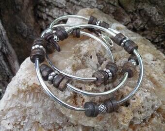 Silver and Bronzite Wrap Bracelet