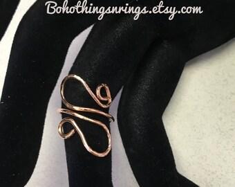 Paisley boho copper toe finger ring adjustable