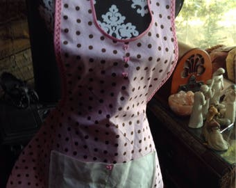 Vintage style pink polkadot apron , with exquisite  repurposed  applique /embroidered  dresser scarf pocket, cute bow buttons .