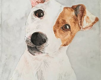 Custom Dog Watercolor Portrait on Canvas/Gifts for Dog Lovers/Custom Pet Painting
