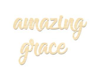 Amazing Grace Wooden Sign- Amazing Grace Laser Cut Wording