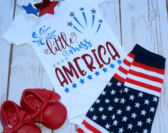 Little Miss America Onesie-4th of July-Independence Day-Unique 4th of July Outfits-My First 4th-Merica-Red White and Blue