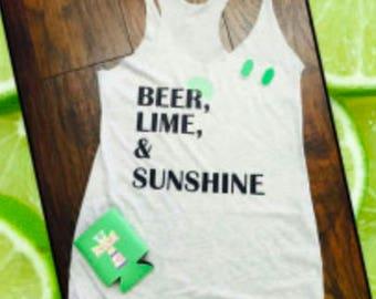 Beer, Lime, and Sunshine Tank White/Black