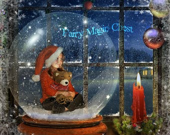 Snow Globe digital backdrop, by the window, 3 files, Christmas digital background, overlay with reflections and winter frame