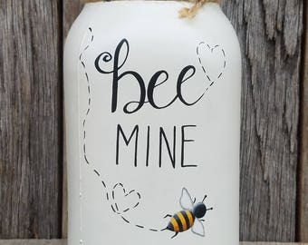 Painted Mason Jar-Bee Mine