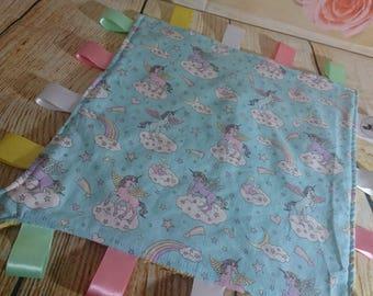 Personalised baby comforter, ribbon blanket, tag blanket, blankie