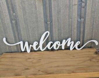 FREE SHIPPING!!!   Welcome Metal Wall Sign, Metal Wall Art, Farmhouse Decor, Iron Sign, Cursive Word