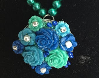 Boho Summer floral jewellery set, earrings, rose ring, turquoise and blue, handmade air dry clay flower statement necklace, bridesmaid gift