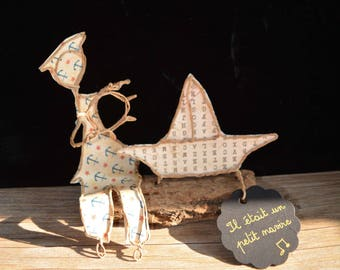 Figurine in string, paper poetry, birth gift, Etlabobinettecherra creations, wire sculptures, paper poetry, OOAK