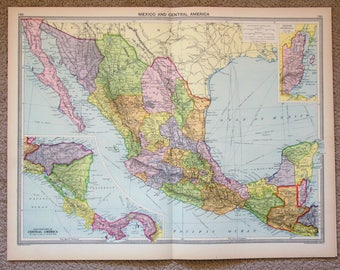 Antique Map : Mexico, Central America, Latin America, Philips c. 1920. Lovely Pastel Colours