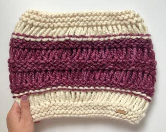 THE WREN COWL   Chunky Knit Cowl    Strawberry and Fisherman    Women's Knit Cowl   