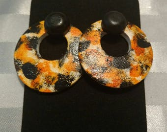 Orange color splat earrings