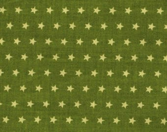 Fabric green stars rustle coupon 65 x 45 cm