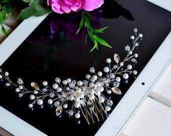 Bridal hair comb, Wedding hair comb, Bridal headpiece, Wedding comb, Pearl hair comb, hair jewelry, Bridel headdress, Vine, pearl hair comb
