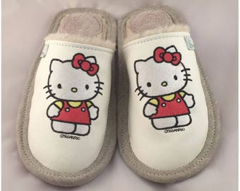 Women slippers, Hello Kitty slippers, white slippers, leather slippers, wool slippers, embroidered slippers for women, closed toe slippers