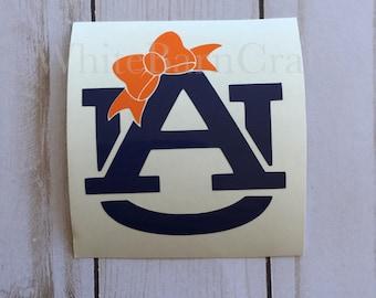 Auburn Monogram Bow Decal | War Eagle Decal | Auburn Car Decal | Sports Decal | Tigers Monogram | Vinyl Car Decal