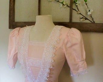 PEACHY 80s Gunne Sax vintage prom dress 100% Cotton *SALE* was 49.00. Vintage prom, Gunne Sax, Molly Ringwald, drop waist, 80s vintage
