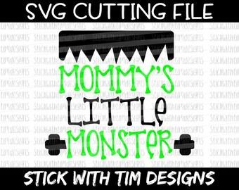 Mommy's Little Monster SVG and PNG, Halloween Svg, Frankenstein Svg Boy Svg, Ghouls Svg, Baby Svg Files For Cricut, Svg Files for Silhouette