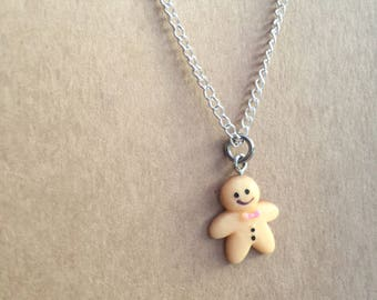 Gingerbread Person Necklace, Gingerbread Person Charm Necklace