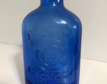 Vintage Milk of Magnesia Cobalt Blue Bottle-MINT