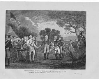 The Surrender of Burgoyne's Army at Saratoga Antique Engraving c.1890