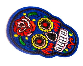 Sugar Skull Embroidered Patch // Iron On Patch // Cute Patch // Animal Patch