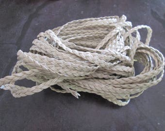 faux 5 mm beige flat braided leather cord