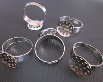 x 10 Adjustable ring silver support 13.5 mm 19 holes sieve
