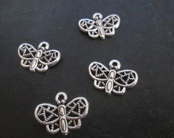 10 Butterfly charms openwork silver metal 18 mm x 14 mm