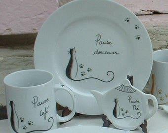 Tea coffee set, 3 PCs cat pattern