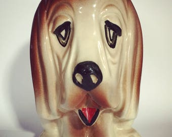Vintage Sad Eyed Dog Ceramic Piggy Bank/Money Box