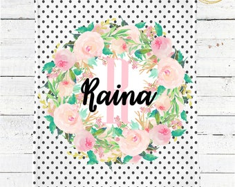 Personalized Monogram Baby Blanket / Polka Dot Baby Blanket / Watercolor Floral Baby Blanket / Baby Shower Gift For Girl / Name Baby Blanket