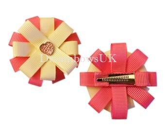 Pink and cream girls hair flowers on alligator clips, grosgrain ribbon hair accessory flowers, handmade hair flowers, crocodile hair clips