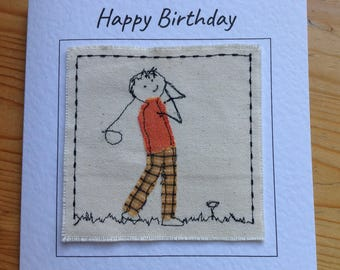 Golf card for birthday, Retirement card for golfer. Golfing card embroidered and appliqued. Your choice of words can be printed.