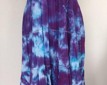 Blue purple tie dyed maxi skirt/dress