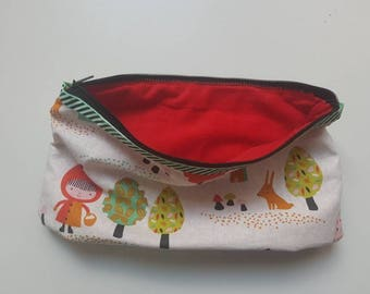 "School pencil case for the ""back to school"" -  theme ""little Red Riding Hood"" lined in red velvet"