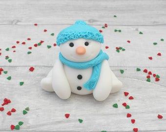 Snowman cake topper, Christmas cake decoration, edible cake topper, winter theme cake topper, fondant snowman, edible cake decoration