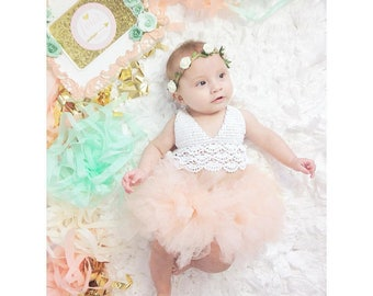 Princess Rompers Baby Girl Crochet Tops Patchwork Mesh Tutu Dress Fashion Halter Backless Rompers,1 year old birthday, Photo shoots