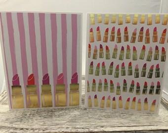 Set of 10 lipstick notecards
