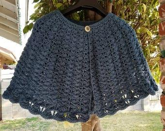 Crochet Blue open Cape/Poncho