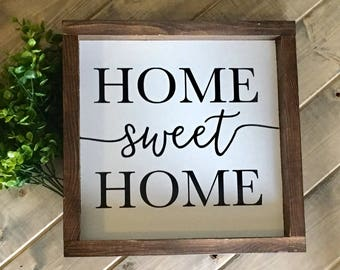 Home sweet Home sign, family sign, home sign, farmhouse style, wood sign, framed sign, Home