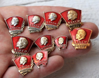 Lot of pins and patches Soviet era Enamel pin set of 10 Lenin pin Political pins Soviet vintage badge Historical person USSR badge Communist