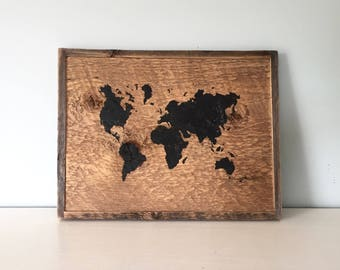 Rustic World Map Art - Hand Painted -Small - Reclaimed Barn Wood - Black