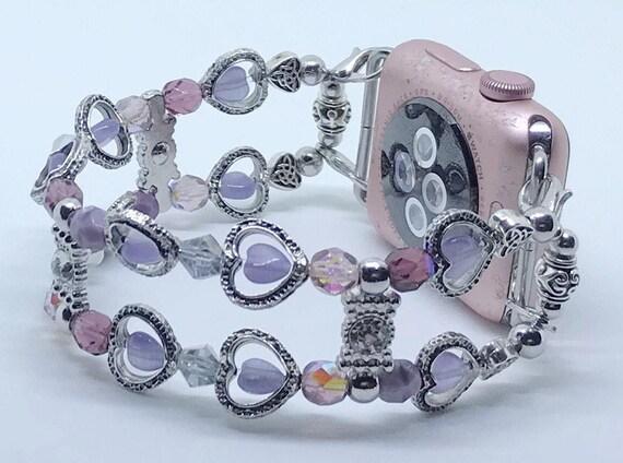 "Apple Watch Band, Women Bead Bracelet Watch Band, iWatch Strap, Apple Watch 38mm, 42mm, Silver Hearts Purple Cats Eye Beads Size 7 1/2"""
