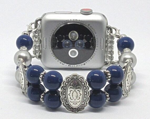 Dark Blue & Silver Pearl Size 7 1/4 - 7 1/2 Apple Watch Band, Women Bead Bracelet Watch Band, iWatch Strap, Apple Watch 38mm, 42mm