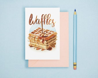 Watercolor Waffles Illustration - Food Illustration, Kitchen Decor, Foodie Postcard, Watercolor Art Print, Food Lover GIft, Kitchen Wall Art